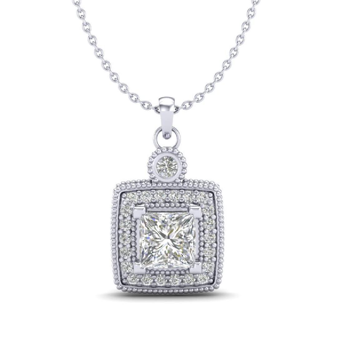 0.91 CTW Princess VS/SI Diamond Art Deco Stud Necklace