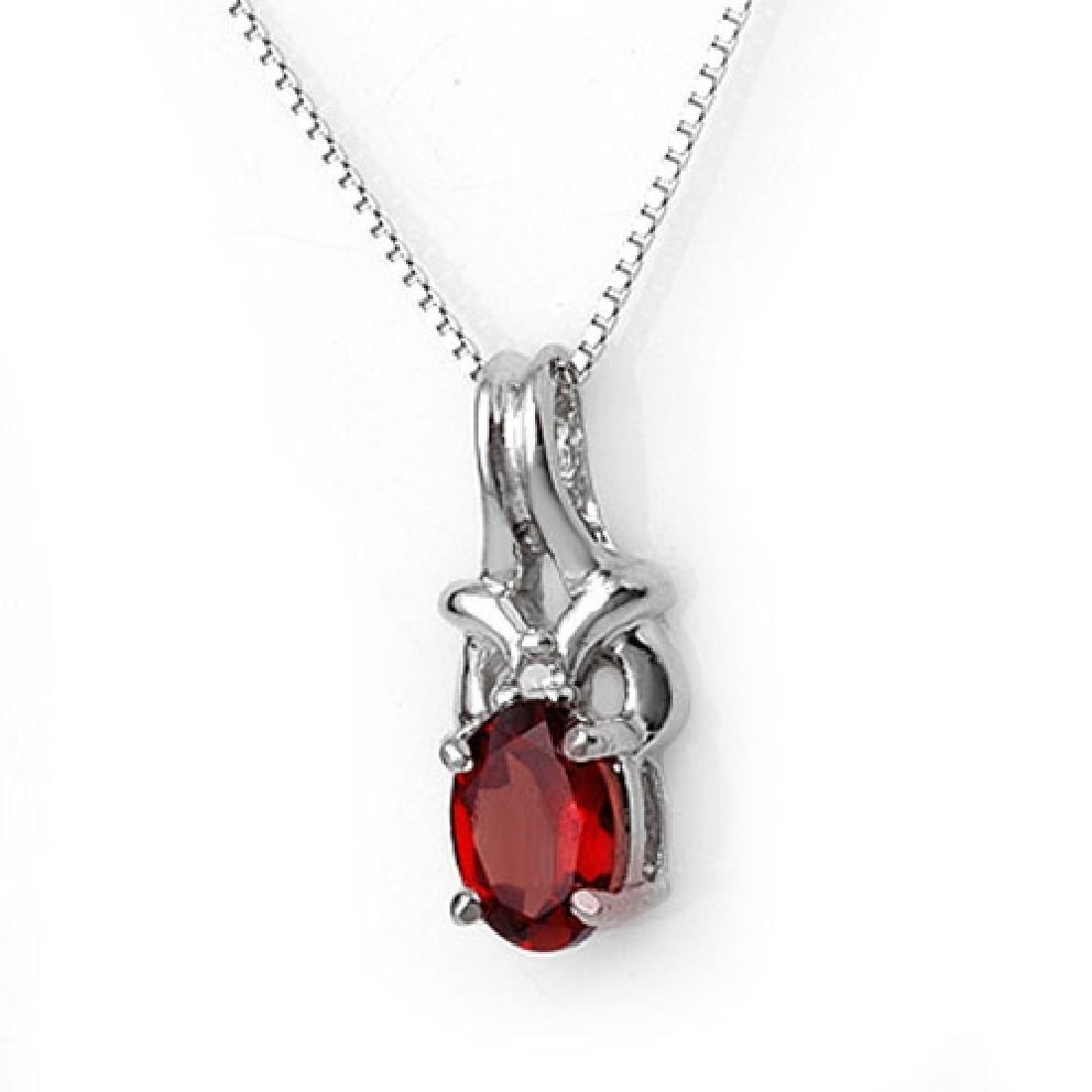 1.0 CTW Garnet & Diamond Necklace 10K White Gold