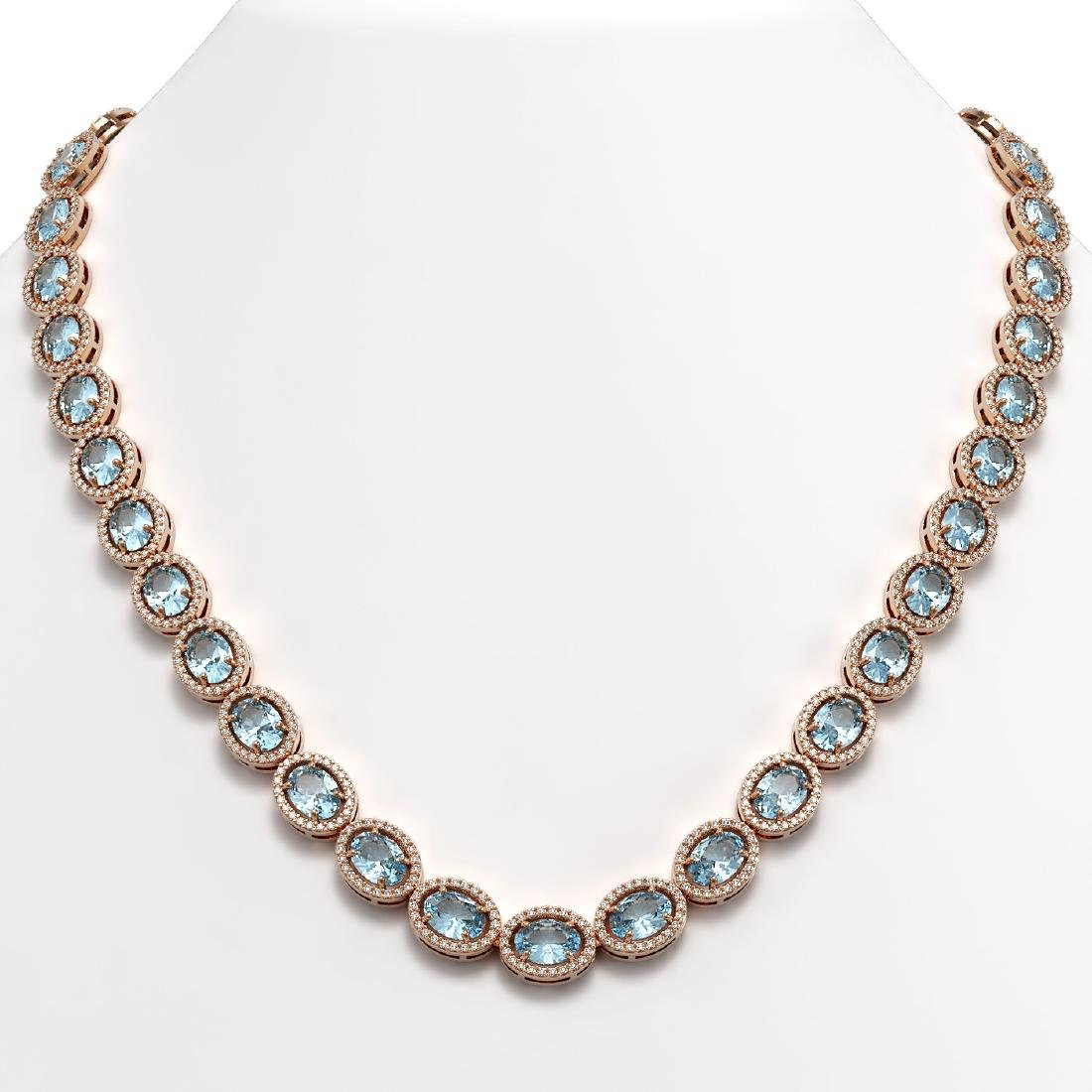 55.41 CTW Sky Topaz & Diamond Halo Necklace 10K Rose