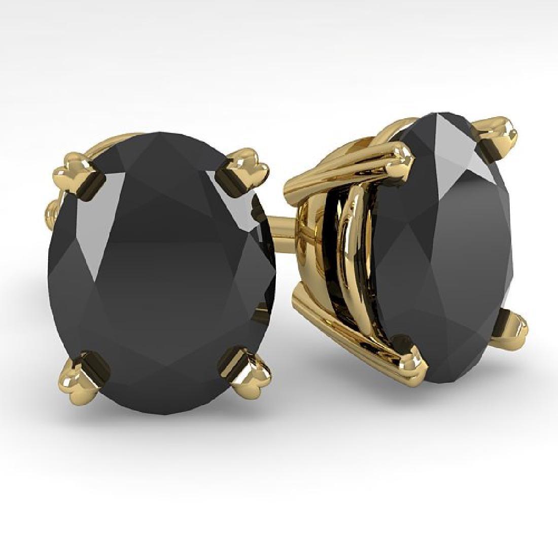10 CTW Oval Black Diamond Stud Designer Earrings 18K