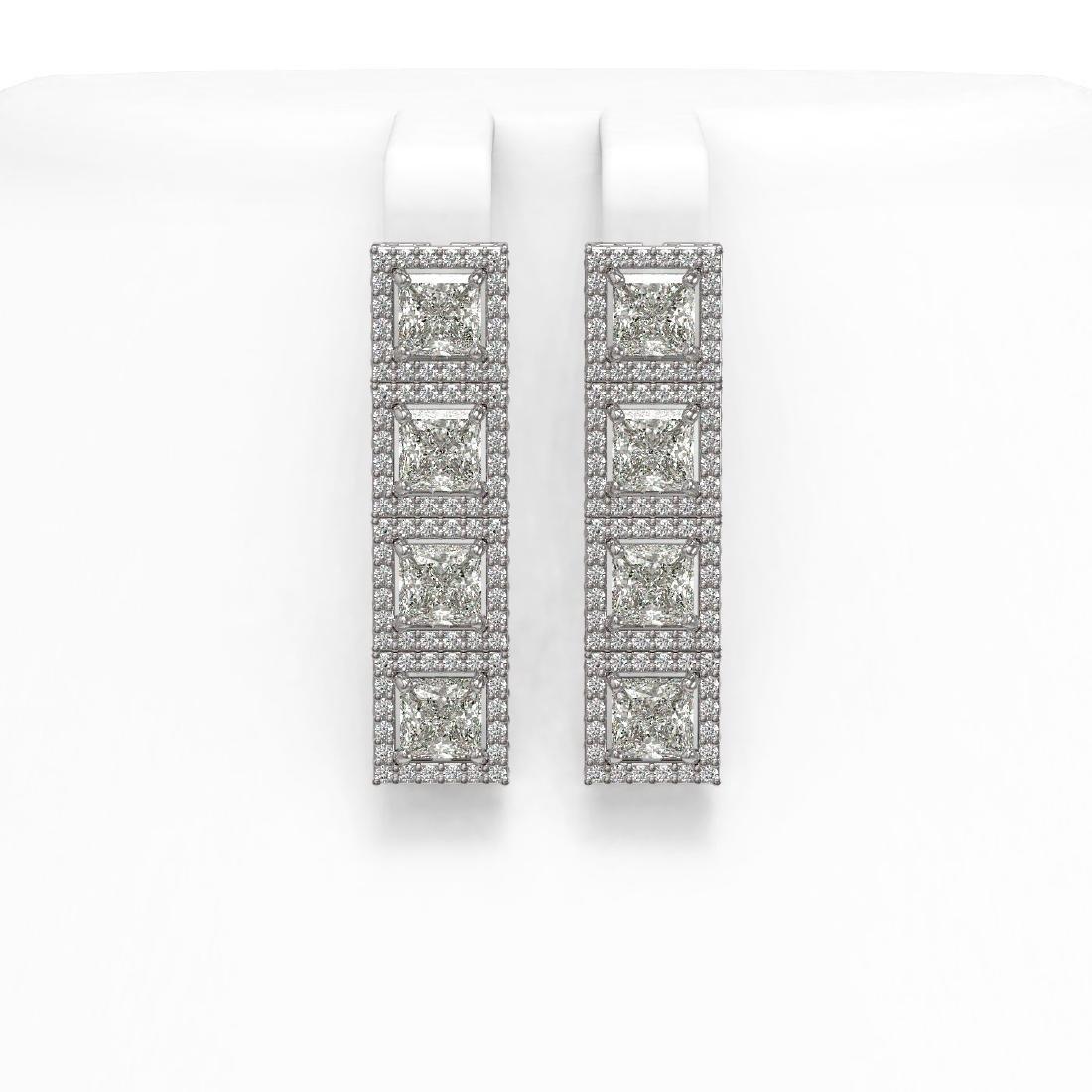 6.08 CTW Princess Diamond Designer Earrings 18K White