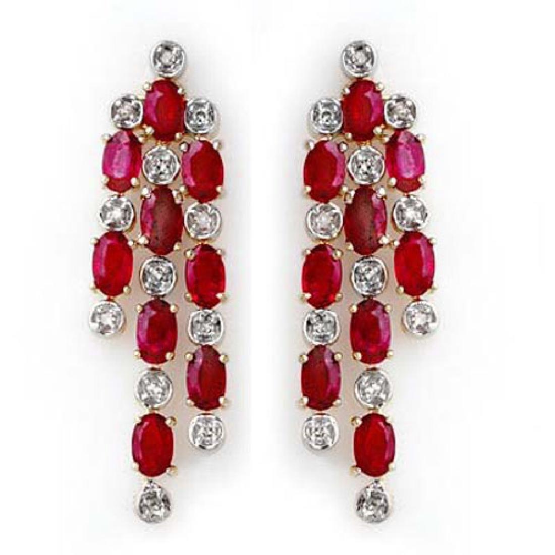 4.03 CTW Ruby & Diamond Earrings 14K Yellow Gold