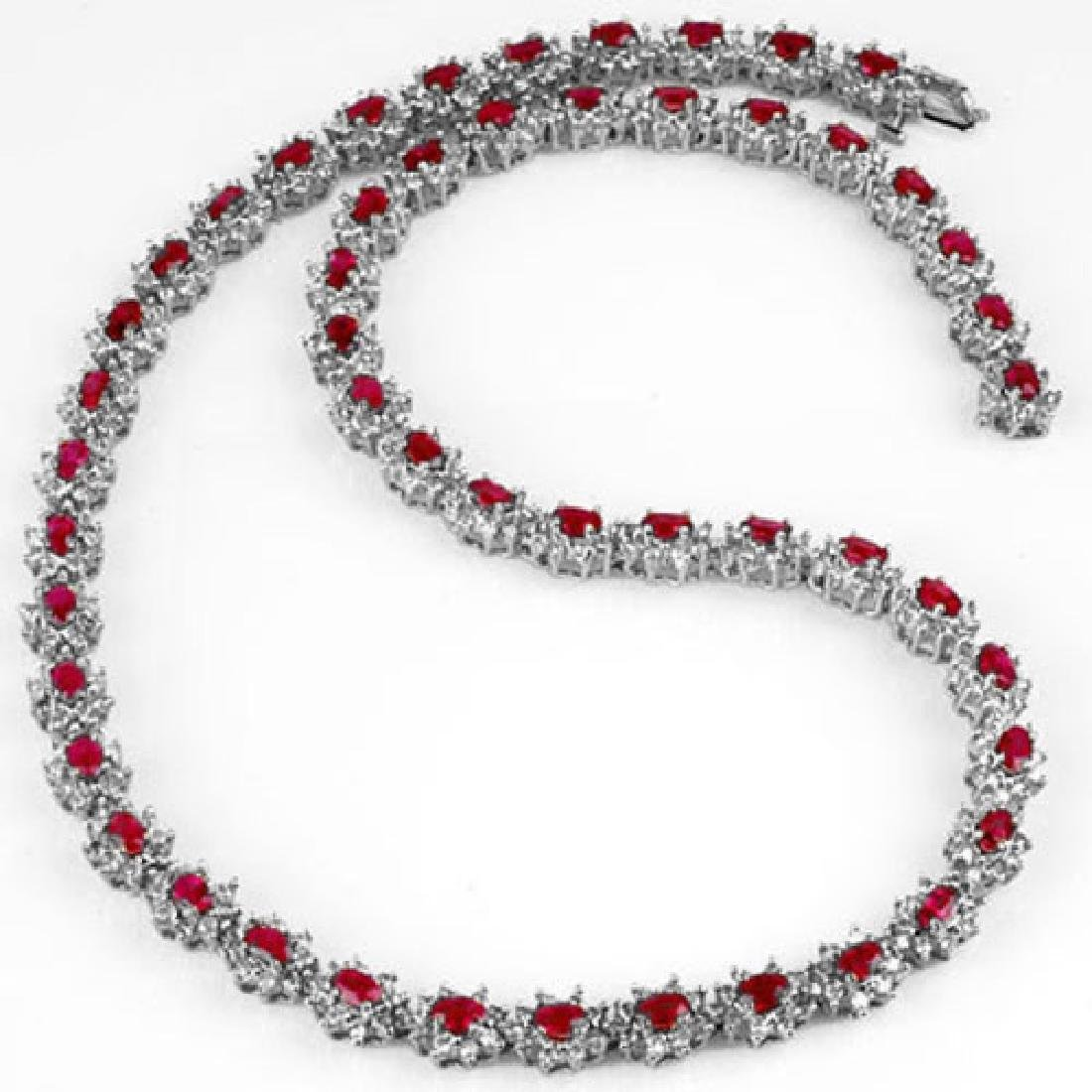 27.10 CTW Ruby & Diamond Necklace 18K White Gold