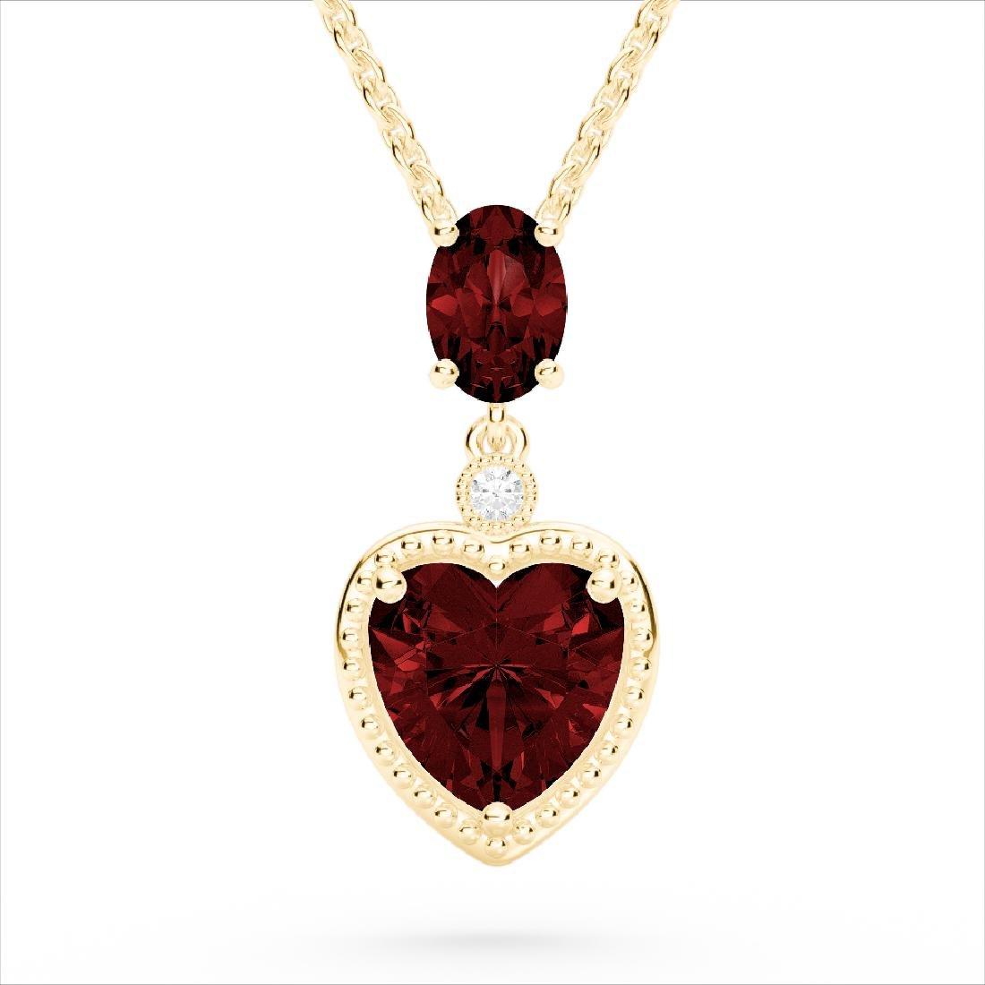 4 CTW Garnet & VS/SI Diamond Designer Heart Necklace
