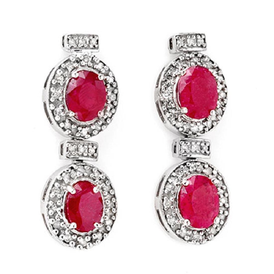 6.75 CTW Ruby & Diamond Earrings 14K White Gold