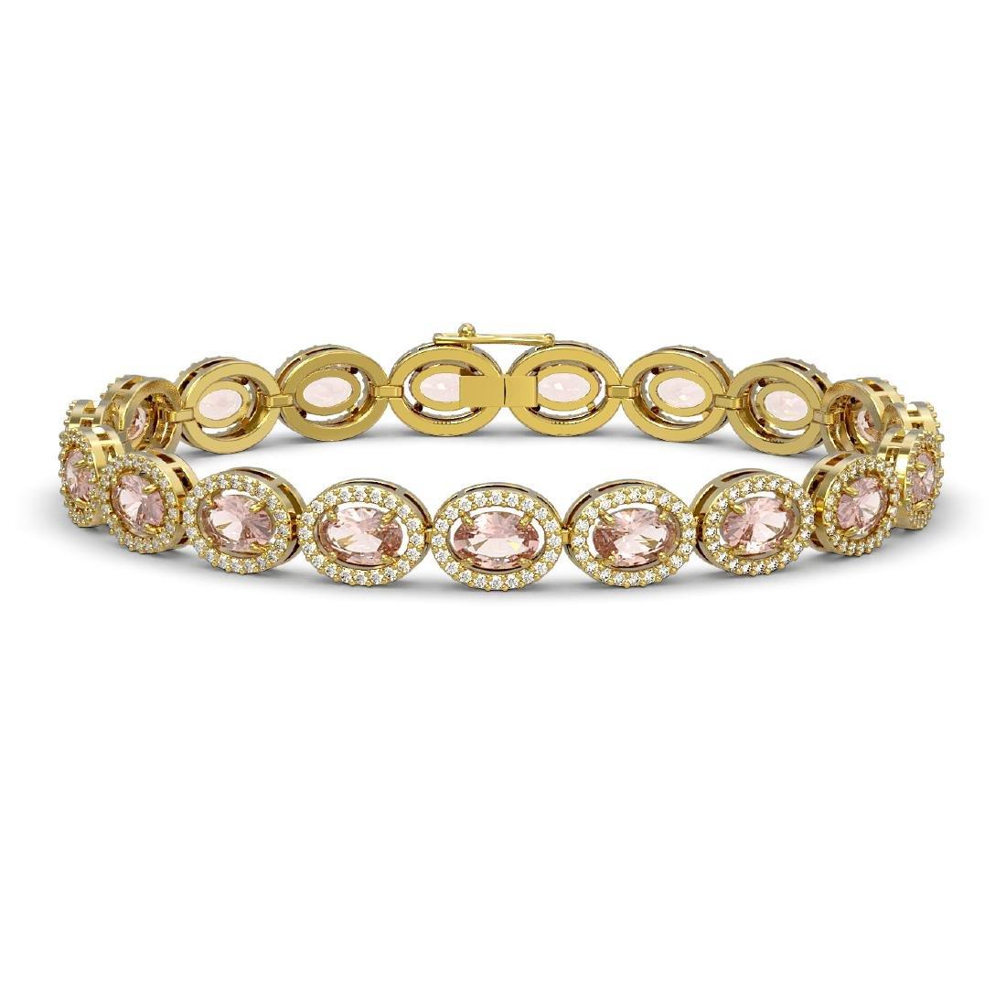 14.25 CTW Morganite & Diamond Halo Bracelet 10K Yellow