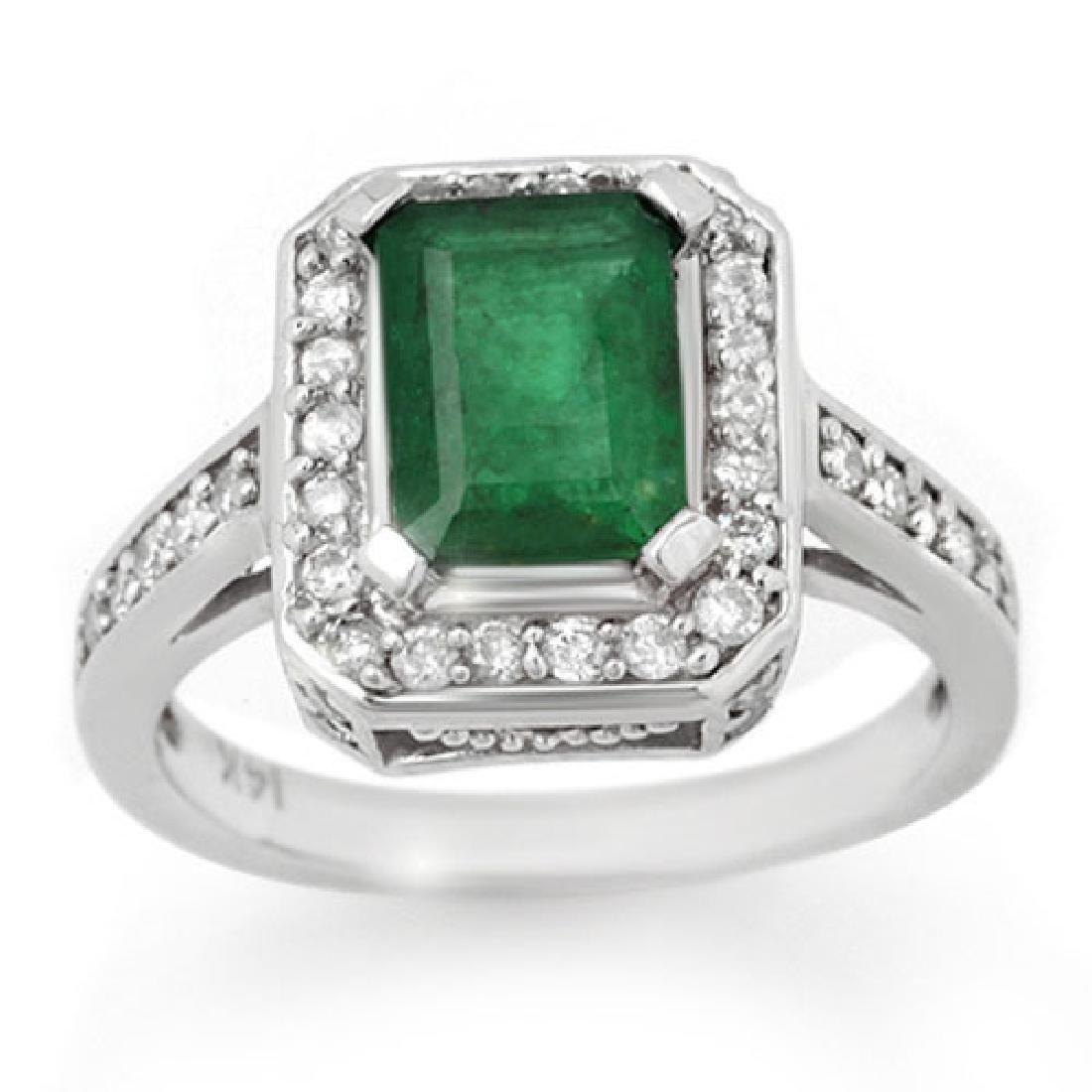 2.0 CTW Emerald & Diamond Ring 18K White Gold