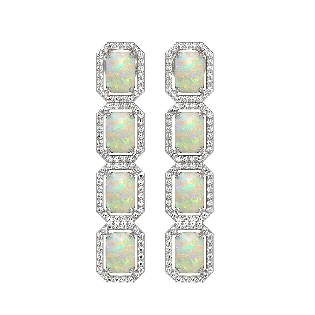 7.93 CTW Opal & Diamond Halo Earrings 10K White Gold