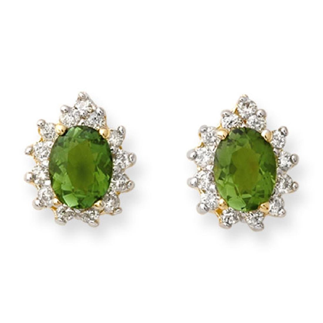 3.75 CTW Green Tourmaline & Diamond Earrings 14K Yellow
