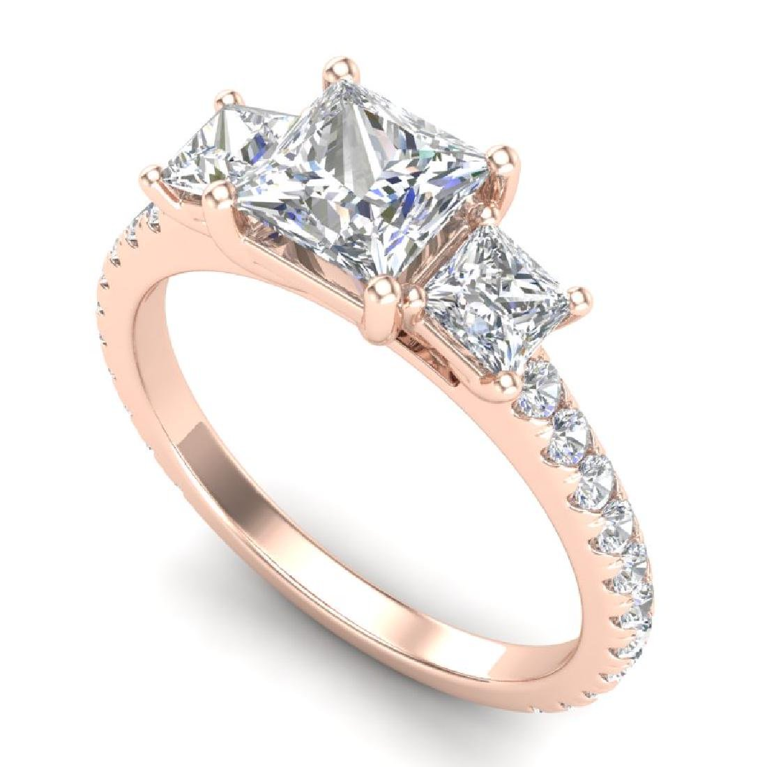 2.14 CTW Princess VS/SI Diamond Art Deco 3 Stone Ring