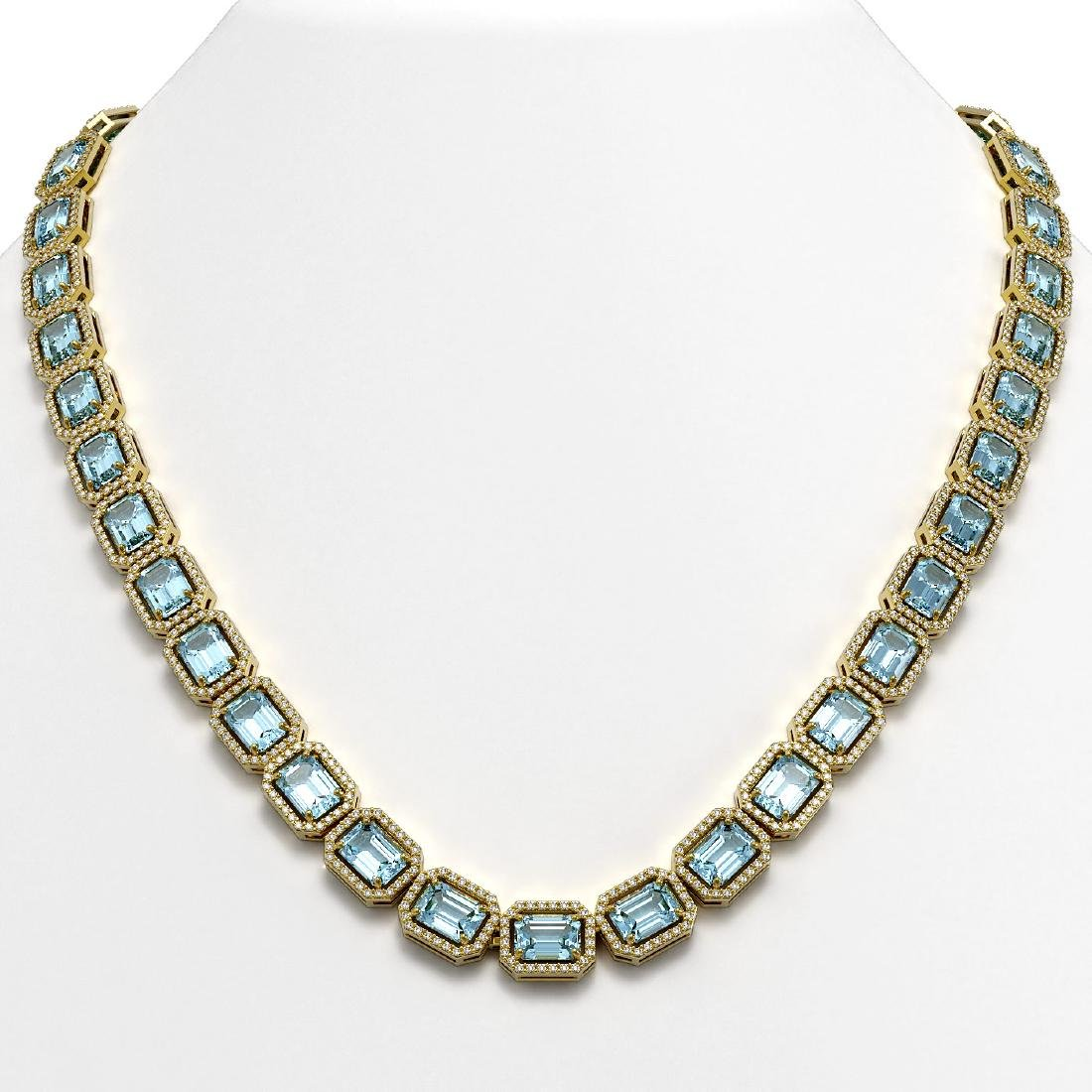 52.89 CTW Sky Topaz & Diamond Halo Necklace 10K Yellow