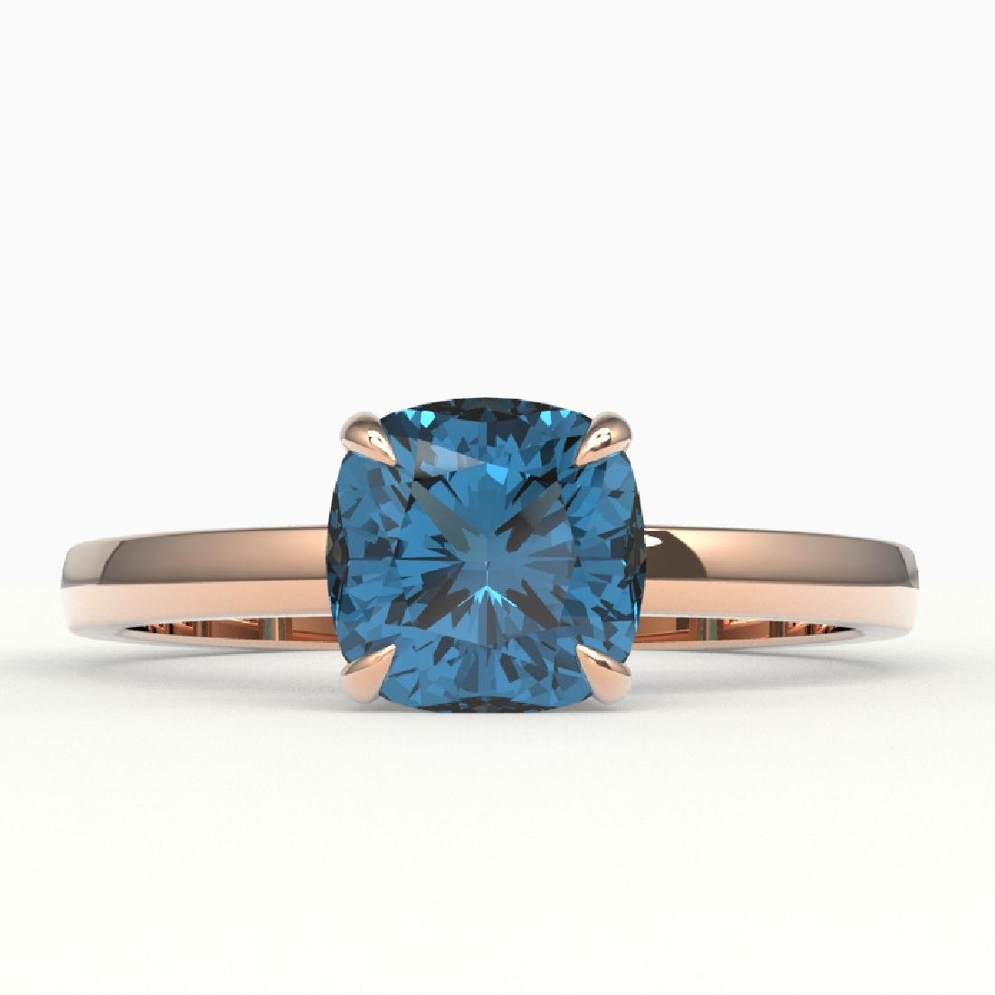 1.50 CTW Cushion Cut London Blue Topaz Designer Ring