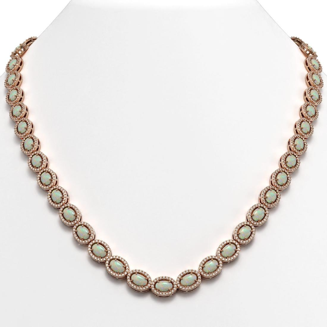 21.21 CTW Opal & Diamond Halo Necklace 10K Rose Gold