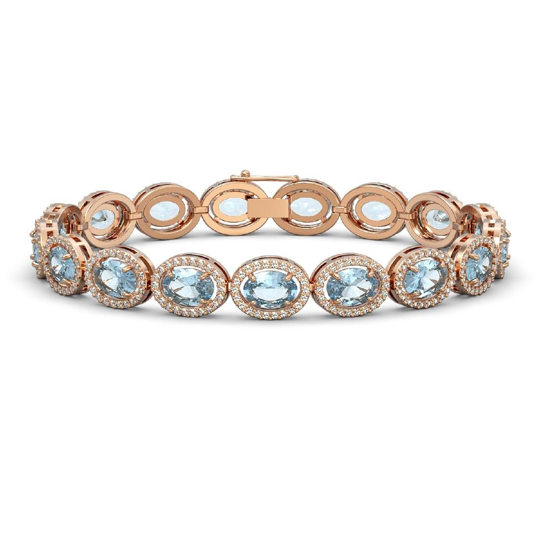 18.38 CTW Aquamarine & Diamond Halo Bracelet 10K Rose