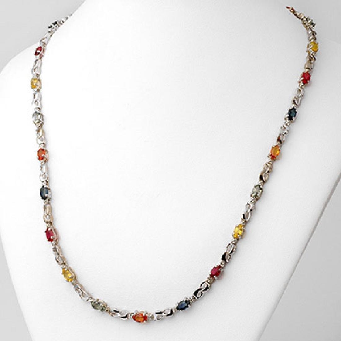 9.02 CTW Multi-Sapphire & Diamond Necklace 10K White
