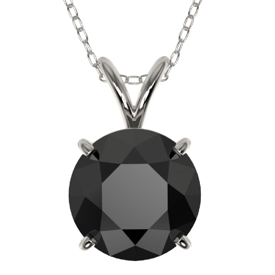 2 CTW Fancy Black VS Diamond Solitaire Necklace 10K