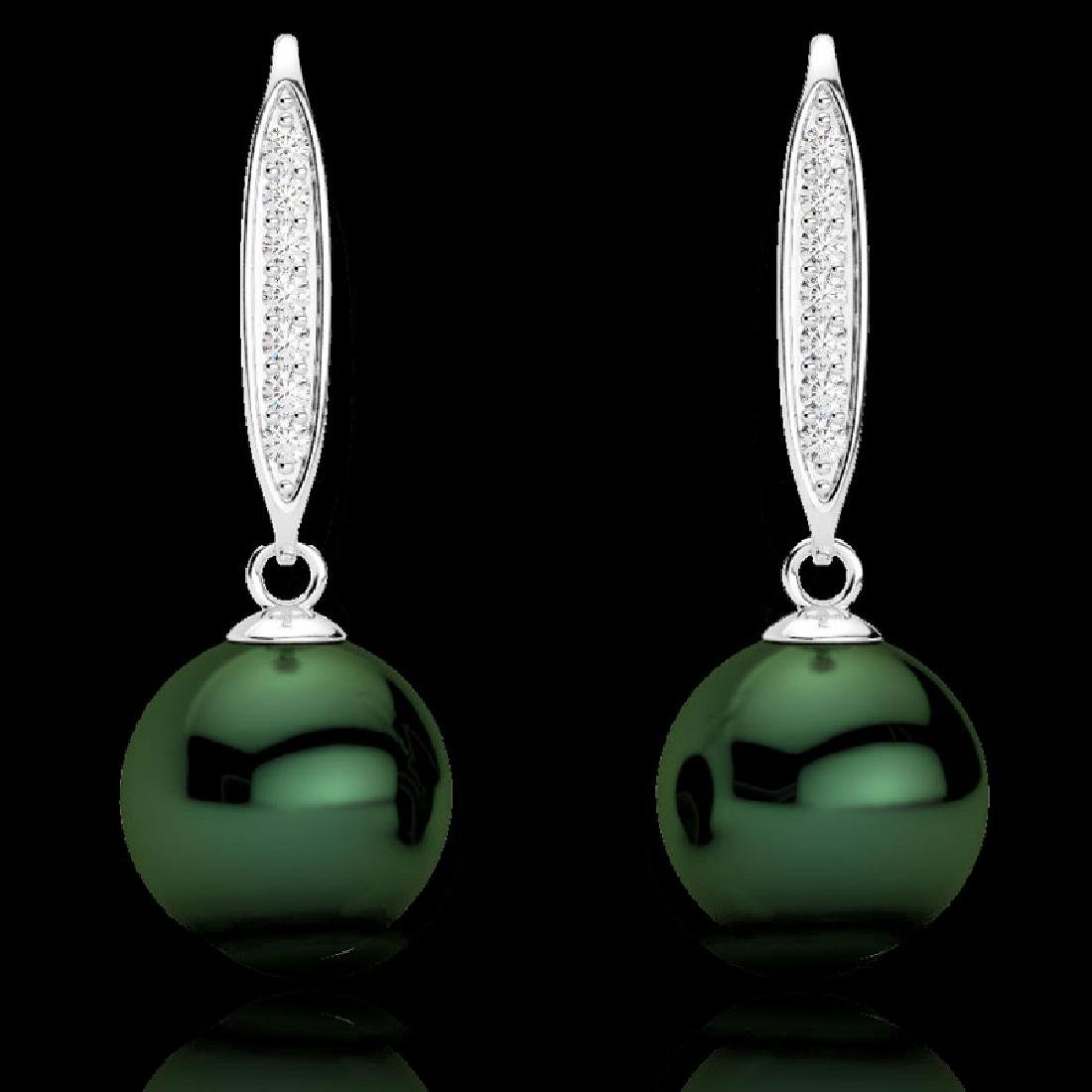 0.18 CTW Micro VS/SI Diamond & Peacock Pearl Earrings