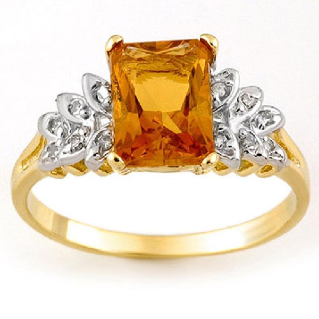 2.12 CTW Citrine & Diamond Ring 10K Yellow Gold