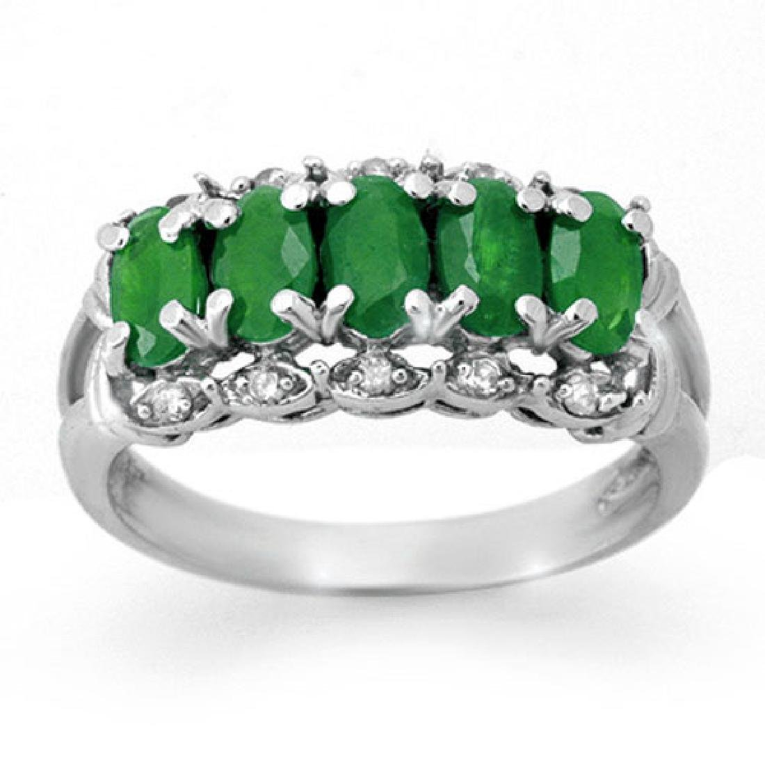1.75 CTW Emerald & Diamond Ring 18K White Gold