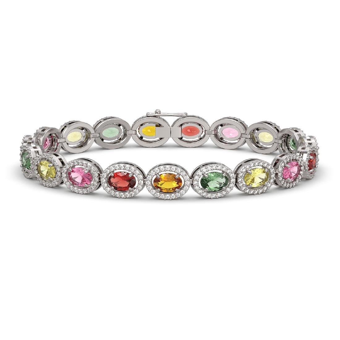 14.25 CTW Multi Color Sapphire & Diamond Halo Bracelet