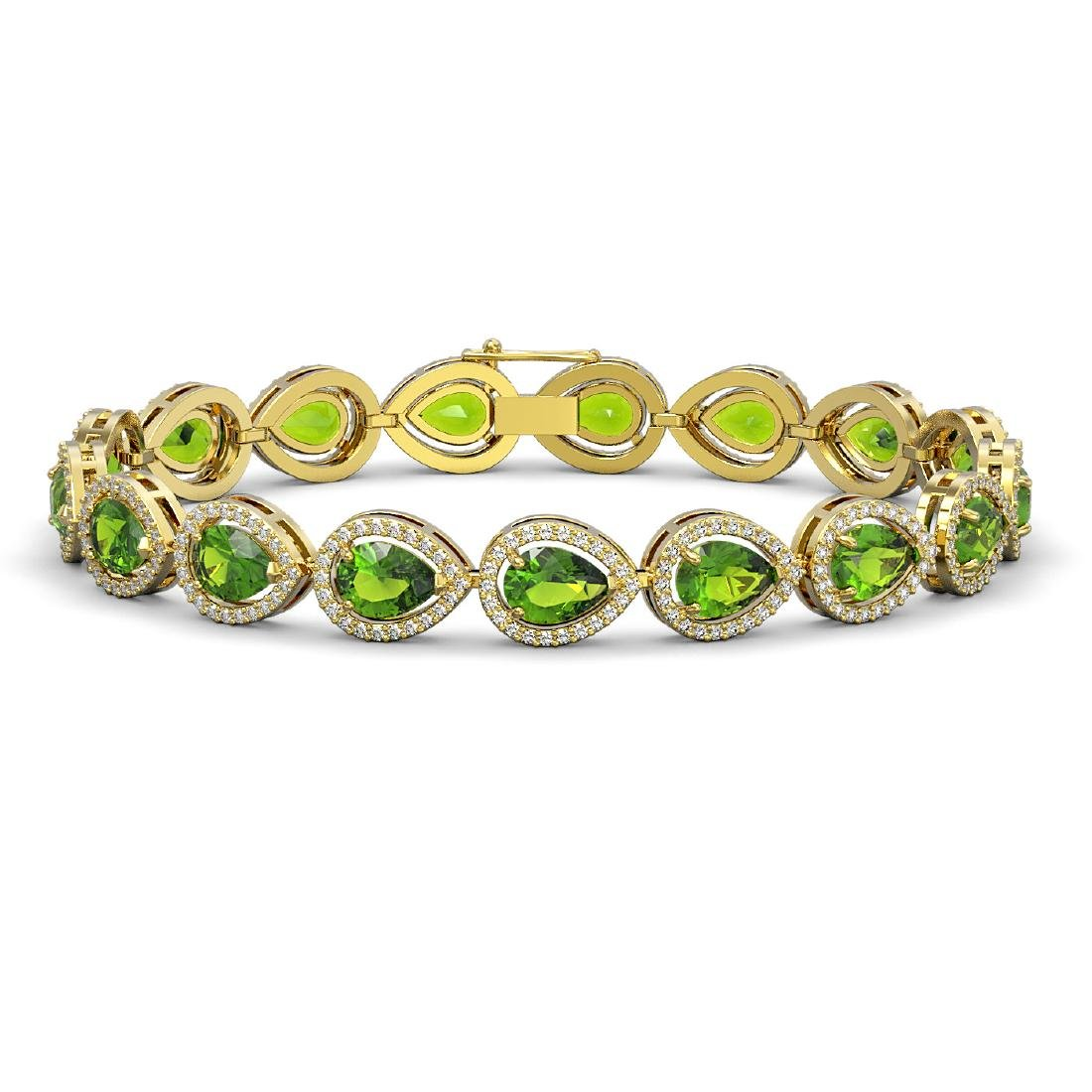 16.08 CTW Peridot & Diamond Halo Bracelet 10K Yellow