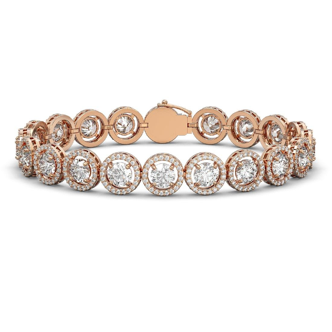 15.36 CTW Diamond Designer Bracelet 18K Rose Gold