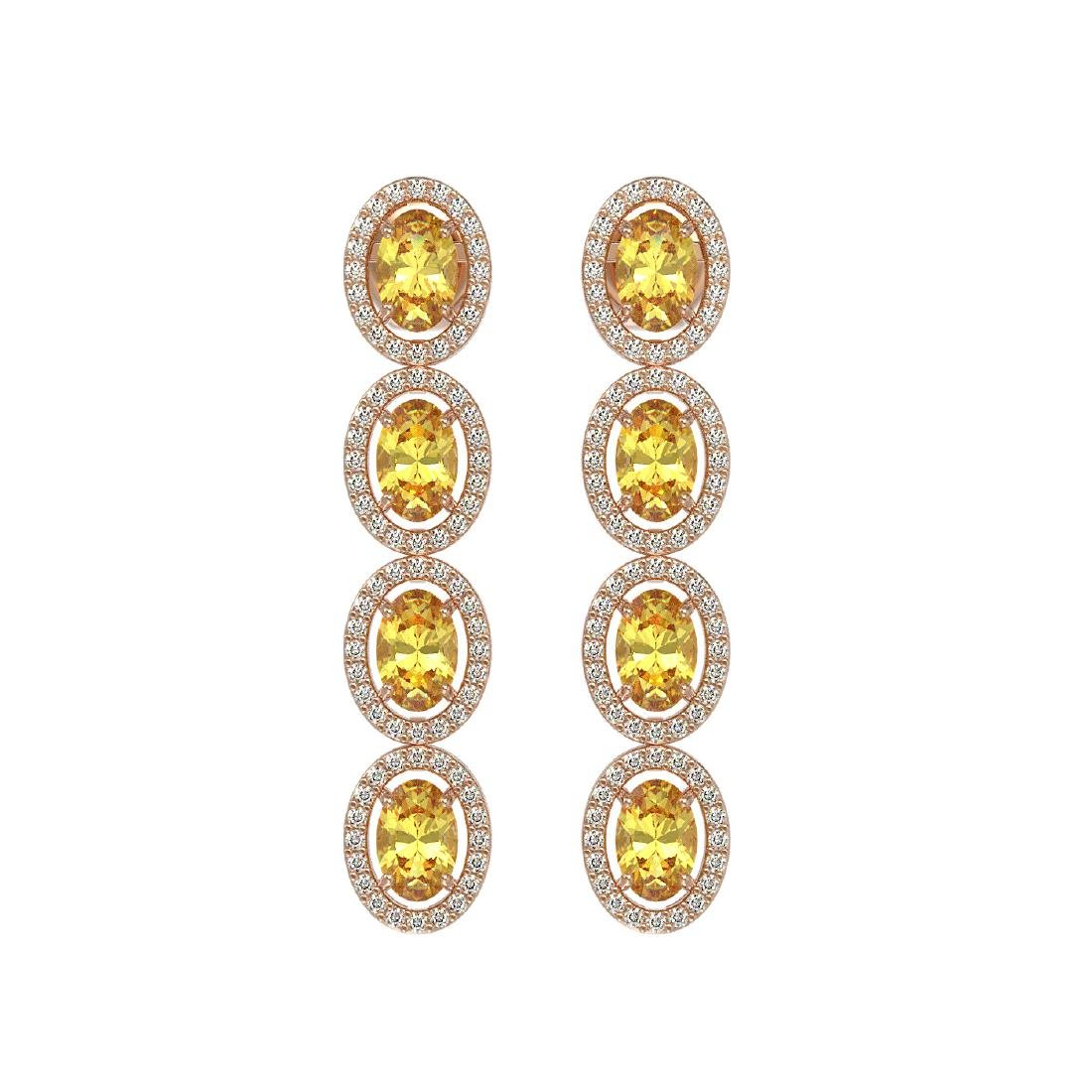 5.4 CTW Fancy Citrine & Diamond Halo Earrings 10K Rose