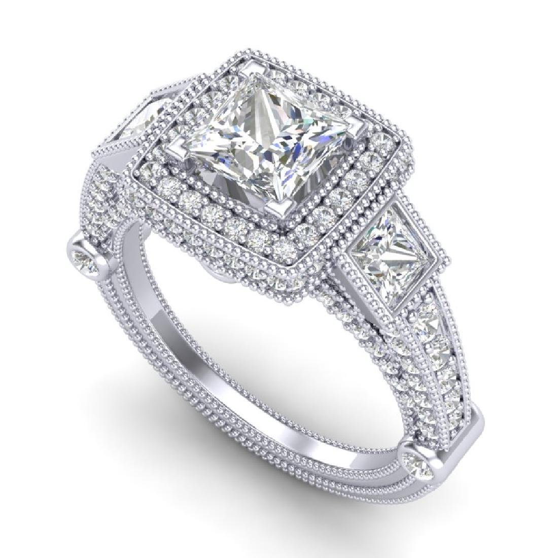 3 CTW Princess VS/SI Diamond Solitaire Art Deco 3 Stone