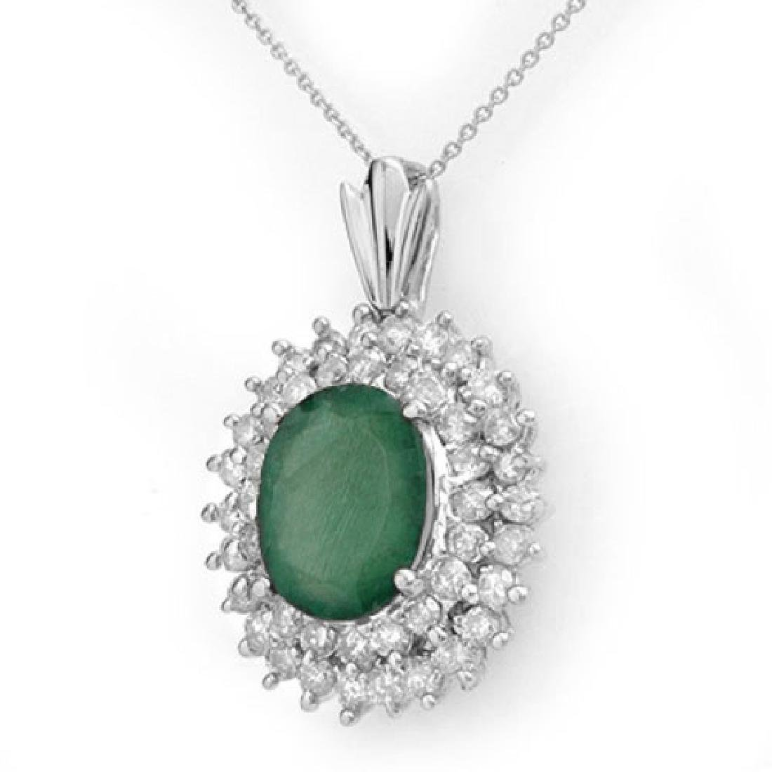 10.11 CTW Emerald & Diamond Pendant 18K White Gold