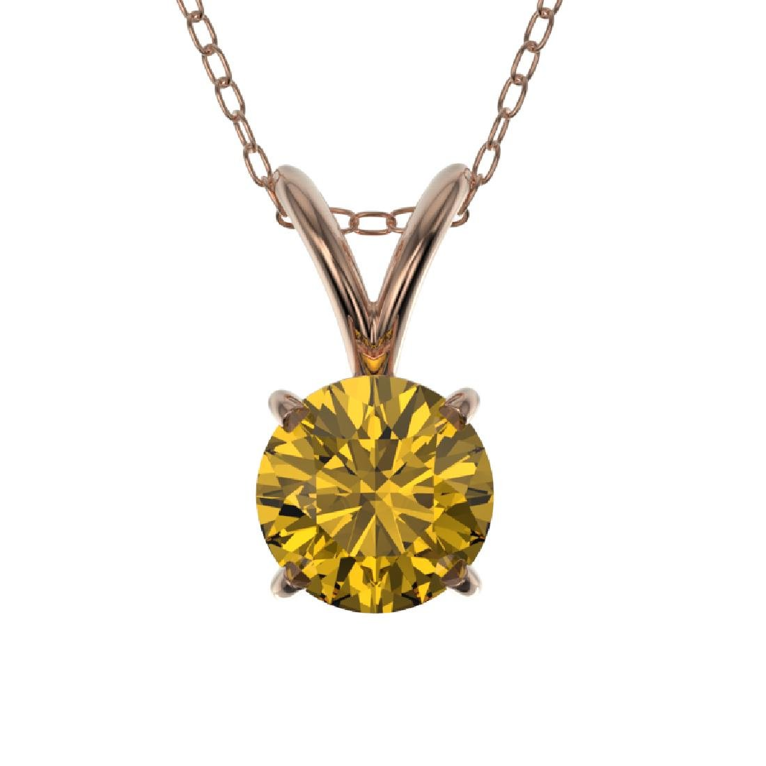 0.56 CTW Certified Intense Yellow SI Diamond Solitaire