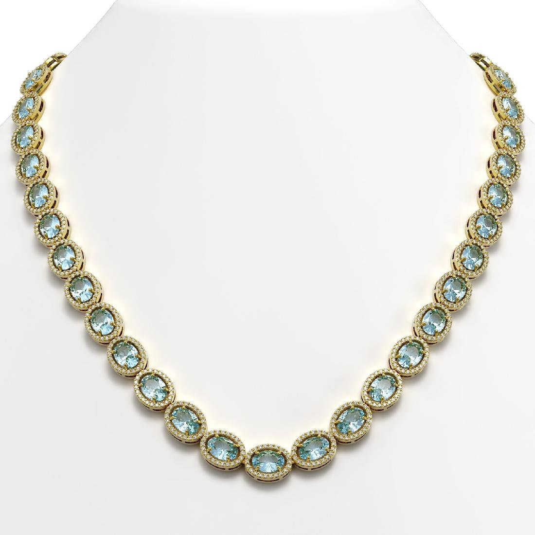 55.41 CTW Sky Topaz & Diamond Halo Necklace 10K Yellow