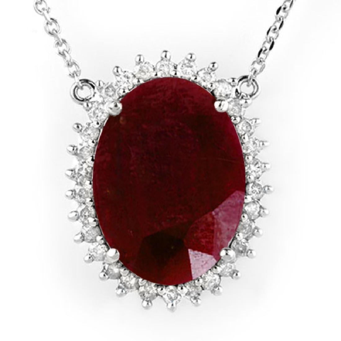 19.25 CTW Ruby & Diamond Necklace 18K White Gold