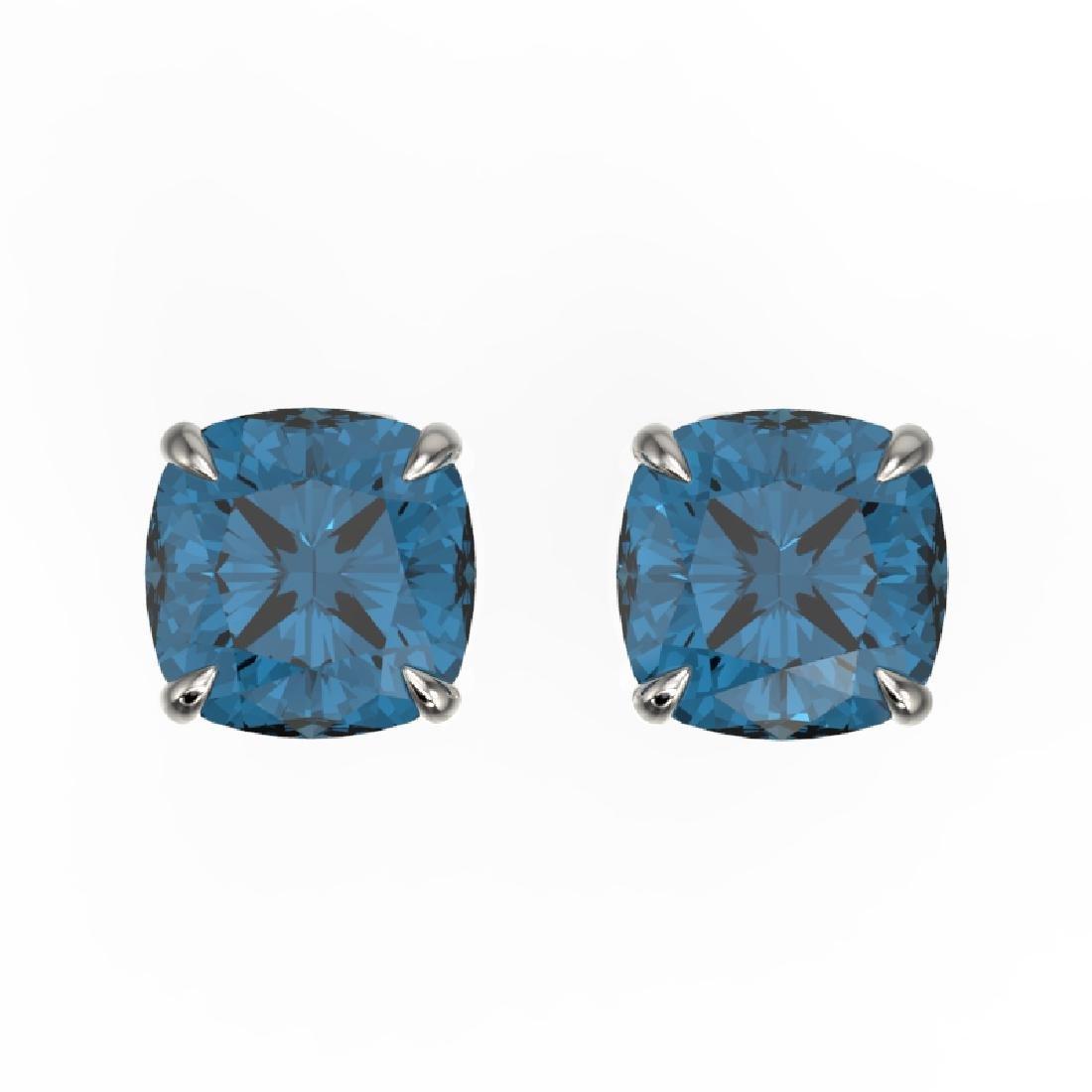 3 CTW Cushion Cut London Blue Topaz Designer Stud