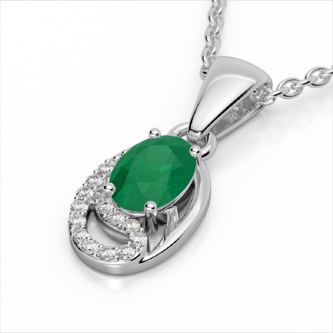 1.25 CTW Emerald & Micro Pave VS/SI Diamond Necklace