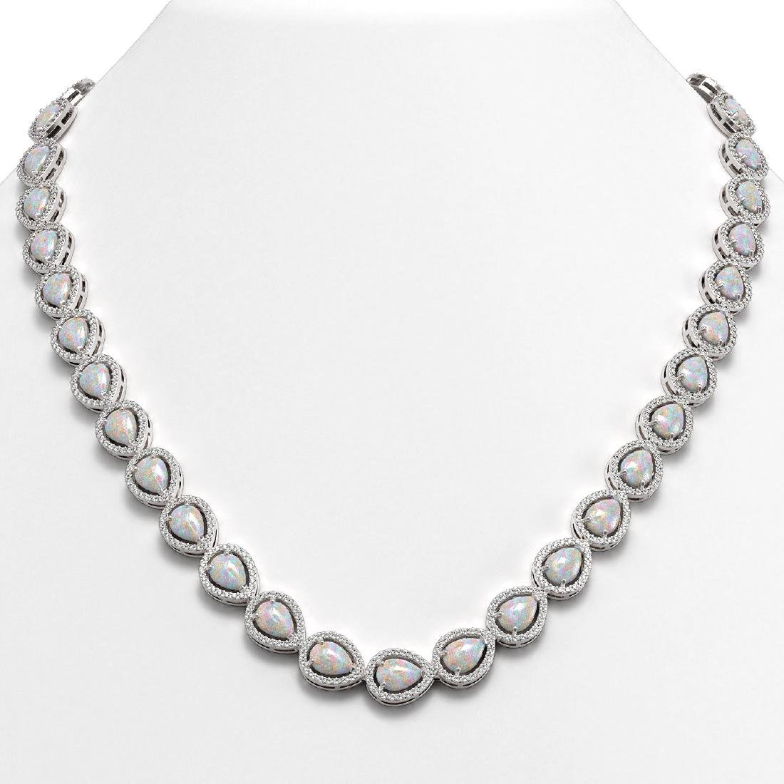 27.93 CTW Opal & Diamond Halo Necklace 10K White Gold