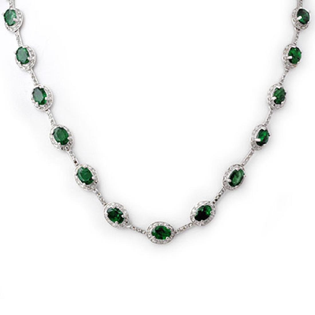 21.0 CTW Emerald & Diamond Necklace 10K White Gold