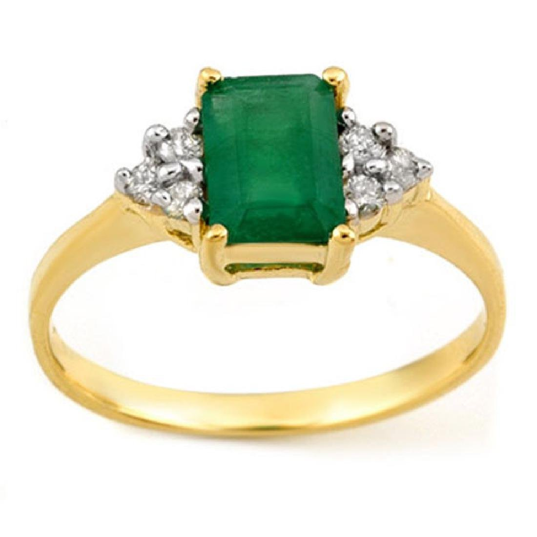 1.12 CTW Emerald & Diamond Ring 18K Yellow Gold