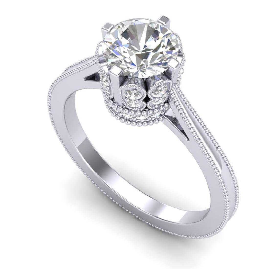 1.5 CTW VS/SI Diamond Art Deco Ring 18K White Gold