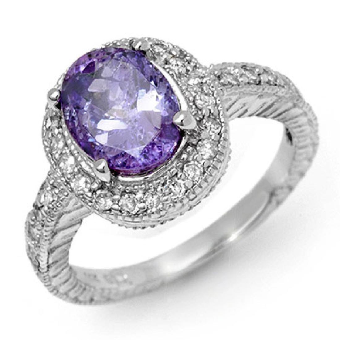 2.90 CTW Tanzanite & Diamond Ring 14K White Gold