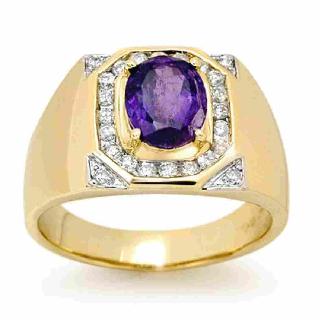3.10 CTW Tanzanite & Diamond Men's Ring 14K Yellow Gold