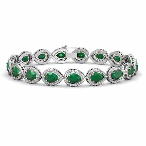 21.69 CTW Emerald & Diamond Halo Bracelet 10K White