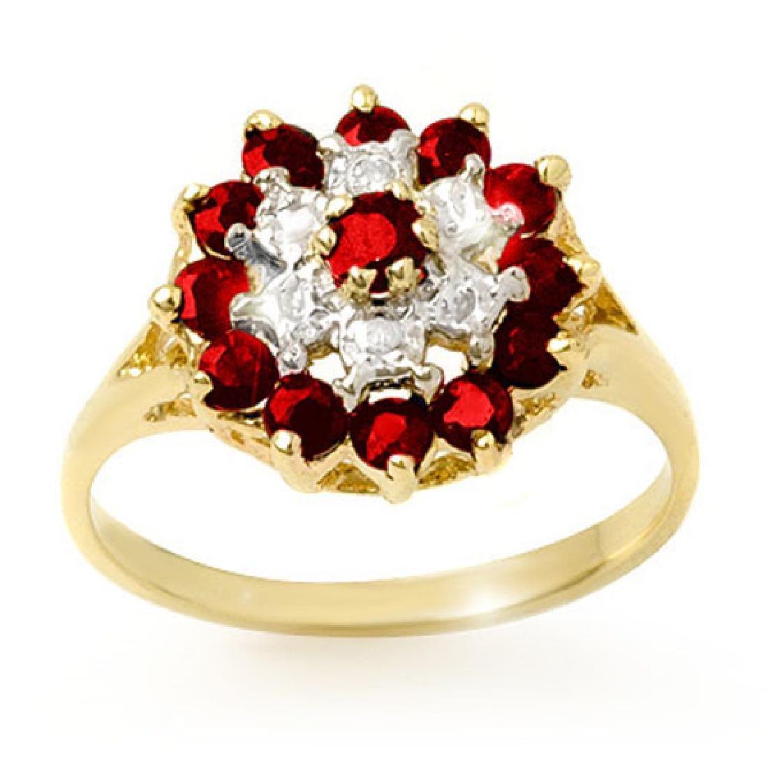 1.12 CTW Ruby & Diamond Ring 10K Yellow Gold