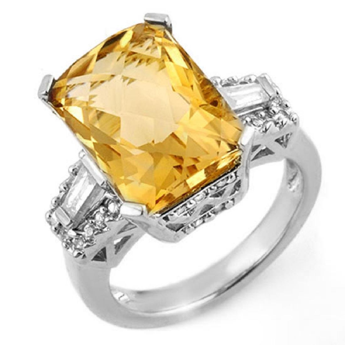 9.55 CTW Citrine & Diamond Ring 14K White Gold