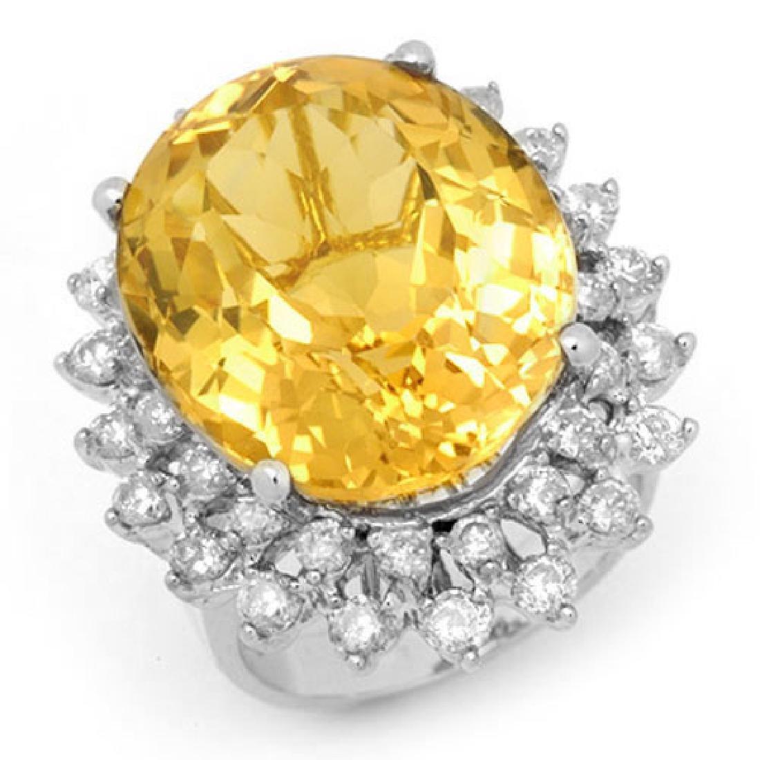 20.0 CTW Citrine & Diamond Ring 14K White Gold