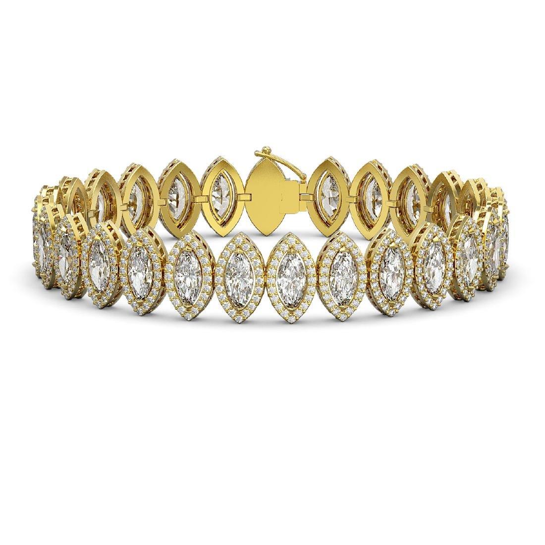 20.25 CTW Marquise Diamond Designer Bracelet 18K Yellow
