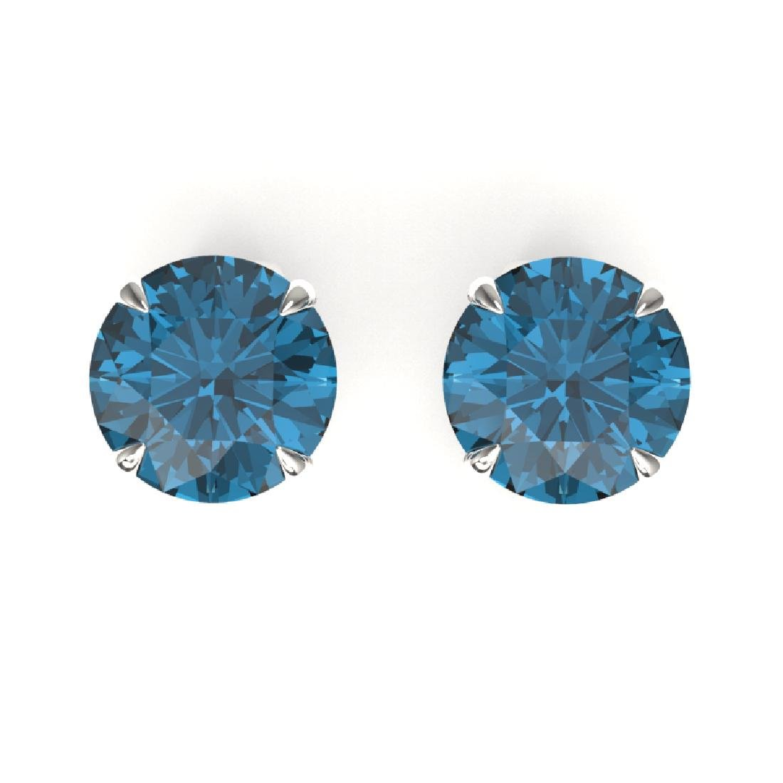 4 CTW London Blue Topaz Designer Solitaire Stud