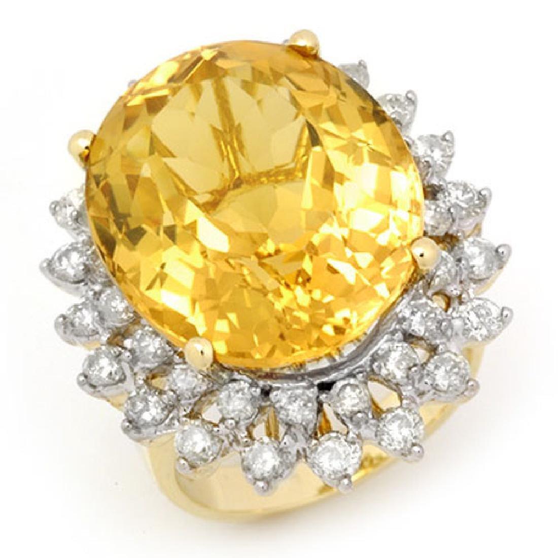 20.0 CTW Citrine & Diamond Ring 14K Yellow Gold