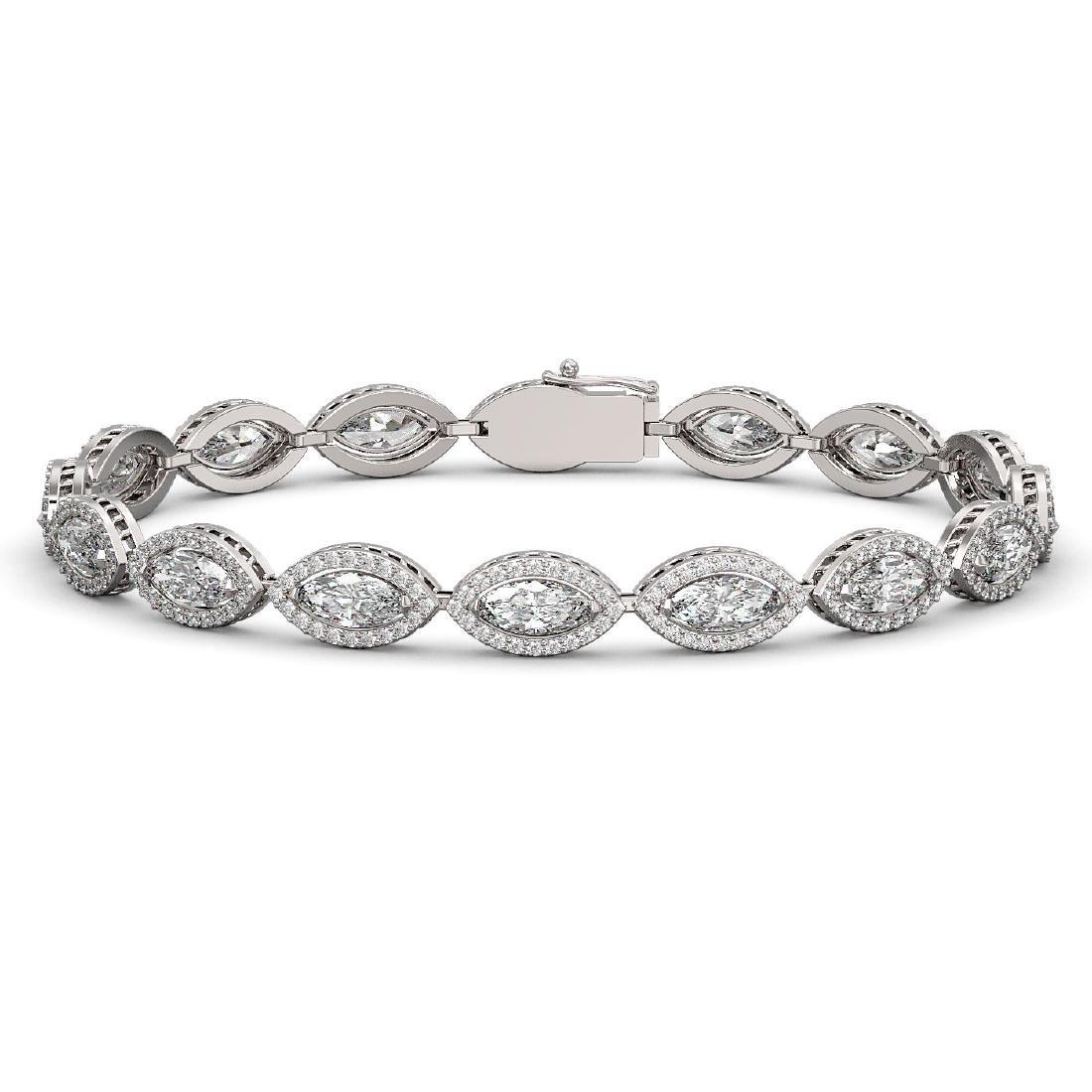 12.16 CTW Marquise Diamond Designer Bracelet 18K White