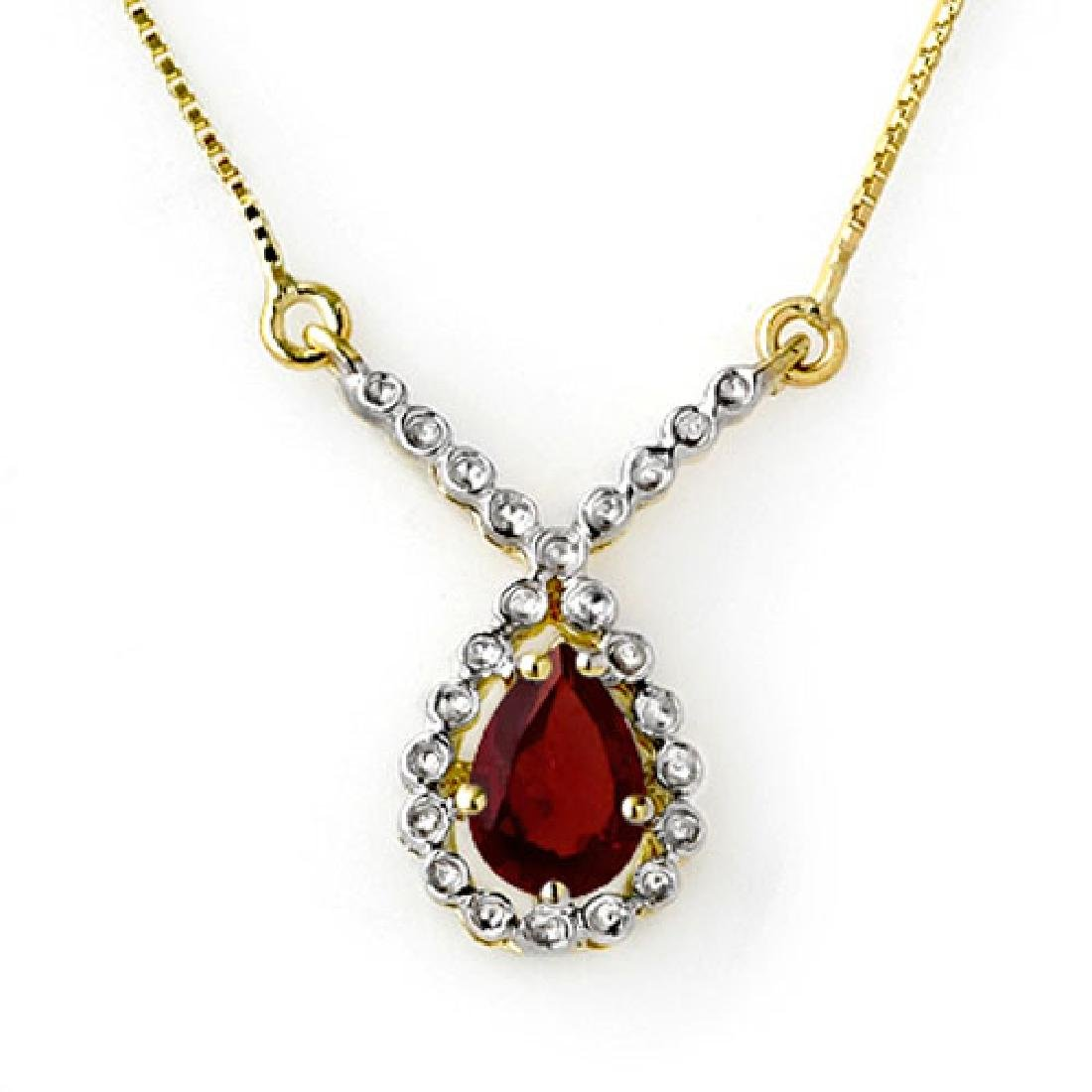 0.90 CTW Garnet Necklace 10K Yellow Gold