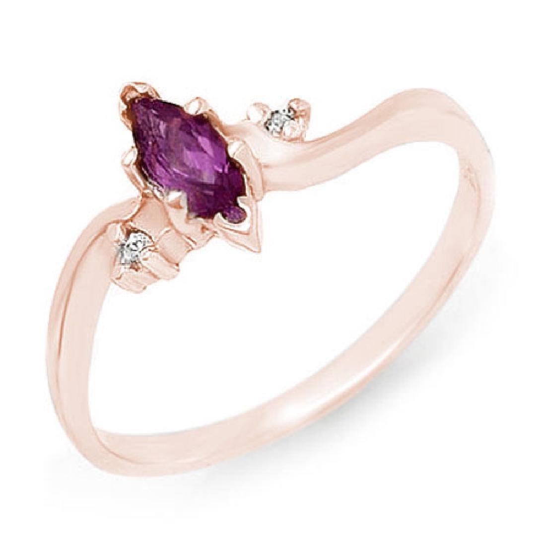 0.29 CTW Amethyst & Diamond Ring 14K Rose Gold